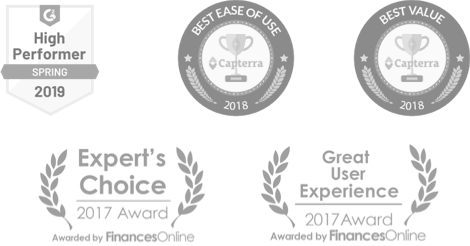Awards given to Quire by business review sites Capterra and FinancesOnline