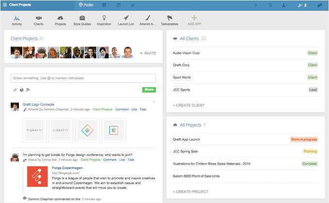 Podio work management app