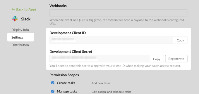 Quire Client ID and Secret