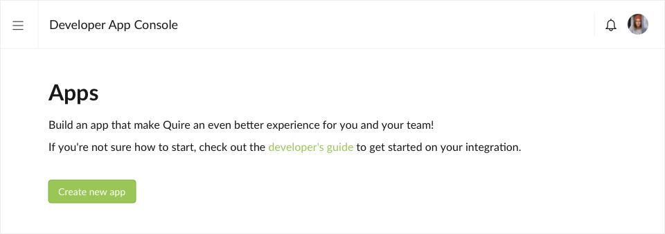 Quire developer app console